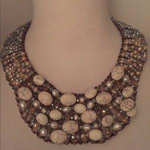 Nakamol beaded bib statement necklace